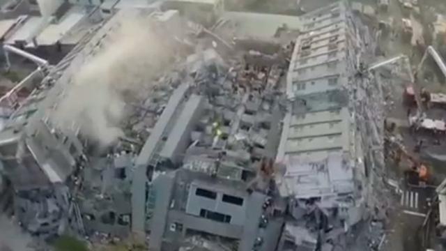 대만 강진으로 초토화된 건물