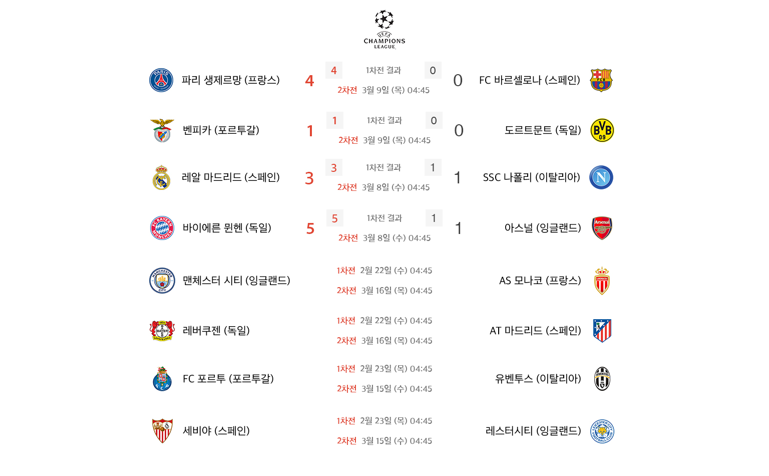 UEFA 챔피언스리그 대진표