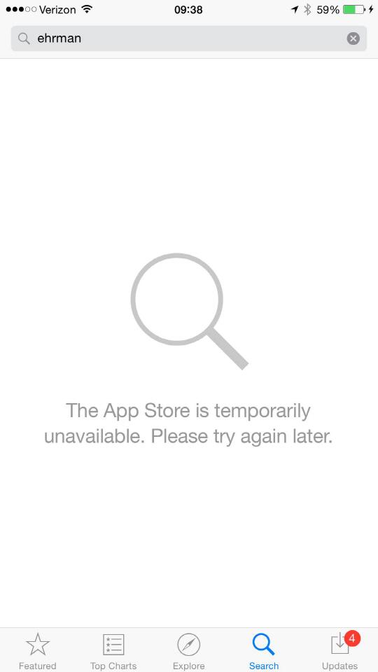 """애플 앱스토어 대규모 장애..""""내부 DNS 에러"""""""